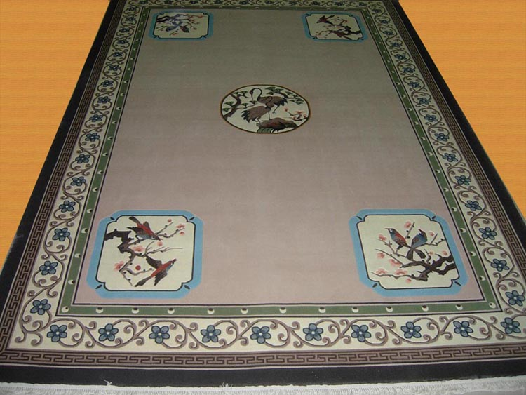 Birds And Flowers Chinese Design Spun Silk Rug 4x6ft 5x8ft
